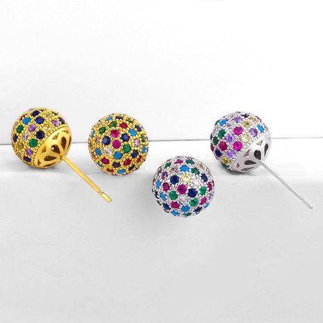 fashion diamond stud earrings wholesal micro-colored zircon earrings NHAS188060's discount tags