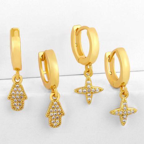 earrings Hot Earrings Cross Zircon Earrings Female Diamond Earrings NHAS188061's discount tags