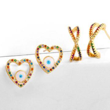 earrings micro inlaid colorful diamond drip oil eyes love earrings geometric cross zircon earrings NHAS188063