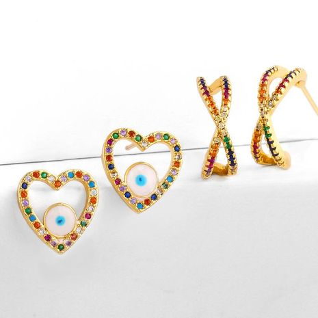 earrings micro inlaid colorful diamond drip oil eyes love earrings geometric cross zircon earrings NHAS188063's discount tags