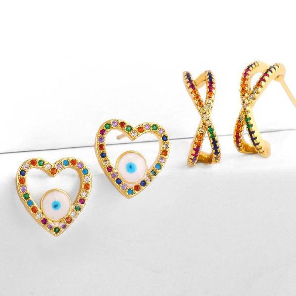 pendientes micro incrustaciones de diamantes de colores con goteo de aceite ojos de amor pendientes geométricos pendientes de circonita cruzada NHAS188063