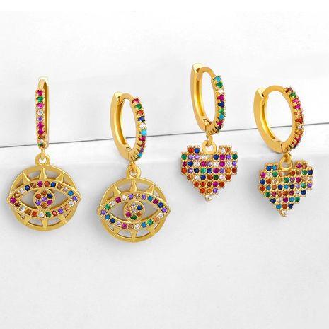 Earrings Retro Hollow Devil's Eye Earrings Peach Heart Love Earrings Wholesale NHAS188066's discount tags