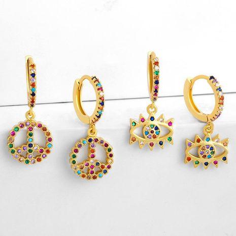 earrings vintage earrings eye earrings micro-set color zircon earrings NHAS188067's discount tags