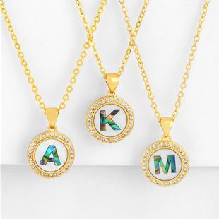 Explosive Letter Necklace Round Colored Shell 26 Letter Diamond Necklace NHAS188069's discount tags