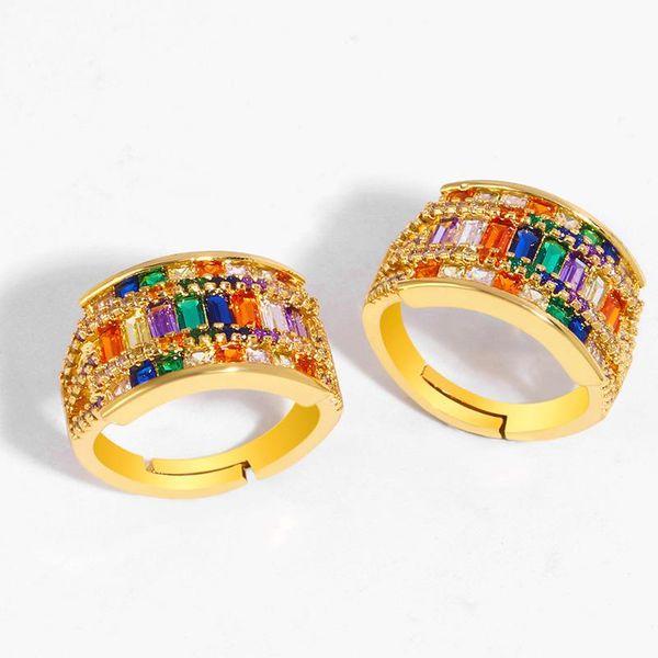 Explosive creative hand-colored ring zircon micro-set ring NHAS188075