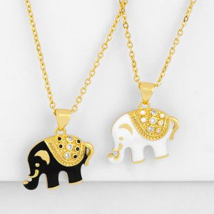 New accessories love animal elephant necklace female drop diamond pendant wholesale NHAS188076's discount tags