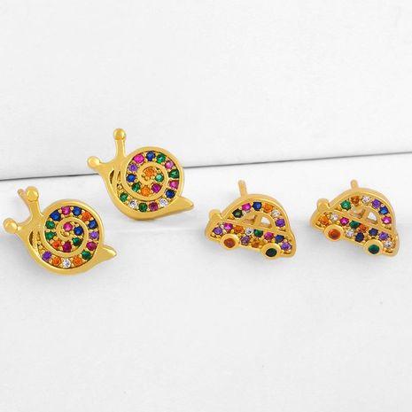 earrings zircon earrings Korean cute insect snail earrings diamond jewelry wholesale NHAS188079's discount tags