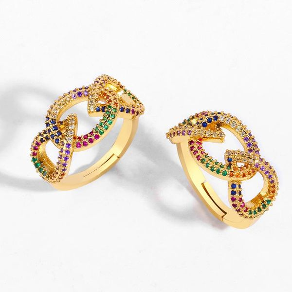 Creative Hot Sale European and American Retro Ring Micro Set with Color Zircon Geometric Ring NHAS188080