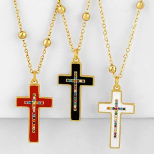 Classic Retro Cross Necklace Dripping Diamond Cross Pendant NHAS188082's discount tags