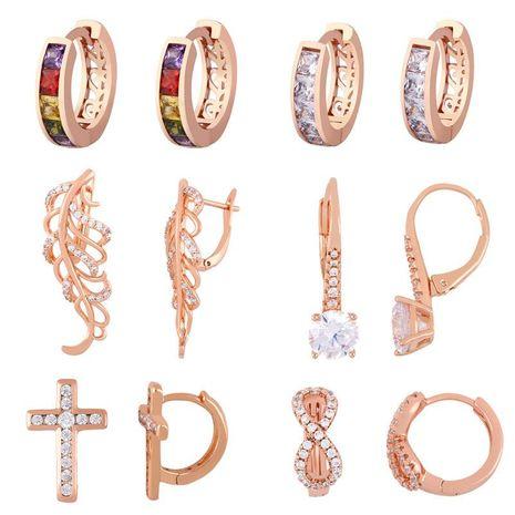 earrings zircon earrings female explosion models cross earrings metal geometric earrings NHAS188083's discount tags