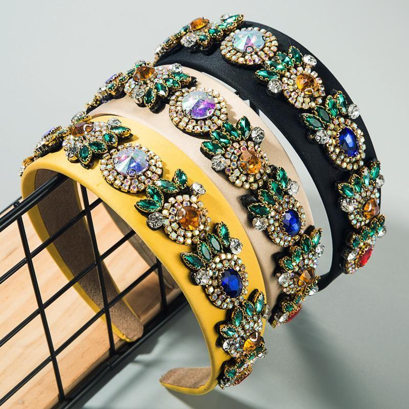 Womens hairband womens widebrimmed super flash fabric with rhinestone headband nonslip ladies hair accessories NHLN188095