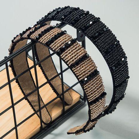Crystal beaded hand-woven headband female high-end wide-edge fashion headband NHLN188097's discount tags
