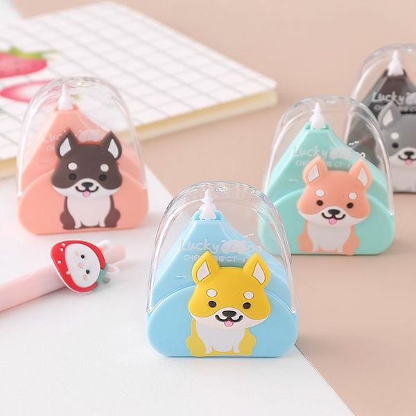 Cute correction tape cartoon dog student learning to use correction tape to alter tape NHZE188249
