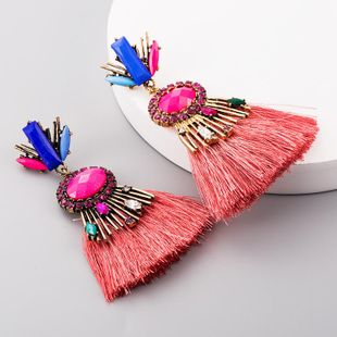 Drop-shaped multi-layered colorful rhinestone long tassel earrings NHLN188268's discount tags