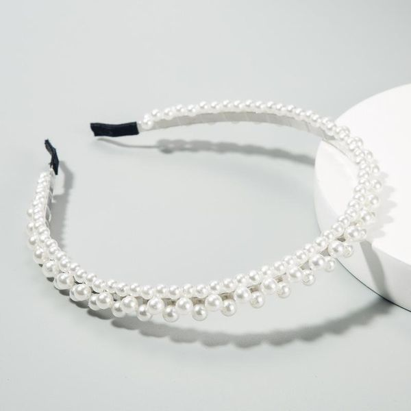 Korean solid color cloth multilayer imitation pearl small flower braided hair hoop women NHLN188271