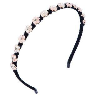 Simple ladies hair hoop hand-wound gold velvet cloth narrow side resin flower headband NHLN188273's discount tags