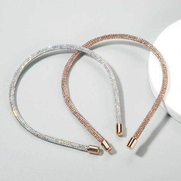 Fashionable Super Flash Round Lady Hair Band Full Diamond Super Flash Fine Edge Korean Headband NHLN188274