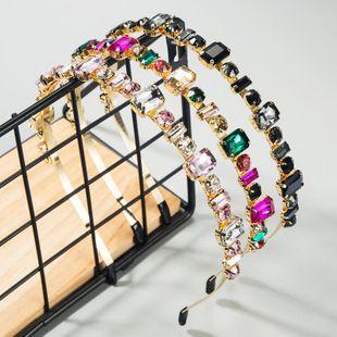 Women's Hairband Korean Neckband Color Geometry Set Glass Diamond Korean Headband NHLN188276's discount tags