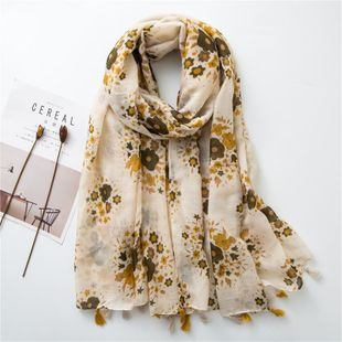 Cotton and linen scarf  spring yellow tone small flower simple wild long scarf NHGD188327's discount tags