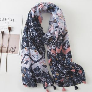 Scarf women summer Korean version of the silk scarf dark blue mixed color floral thin cotton and linen scarf NHGD188329's discount tags