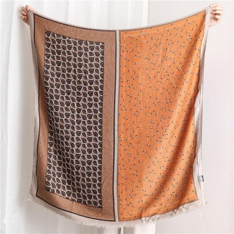Cotton and linen scarf women's spring and autumn four grid floral stitching long shawl dual-use NHGD188333's discount tags