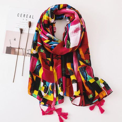New style cotton and linen scarf women's geometric contrast shawl scarf NHGD188336's discount tags