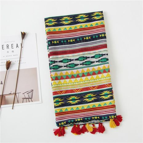 Summer new color matching rhombus geometric cotton and linen sunscreen beach towel large shawl scarf NHGD188337's discount tags