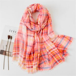 Vintage color plaid warm long cotton and linen scarf ladies dual-use shawl NHGD188338's discount tags