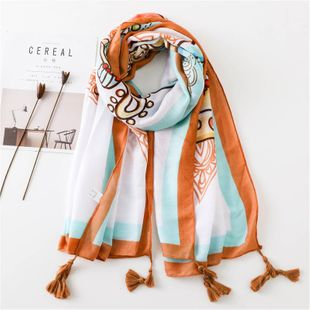 Scarf summer women's cotton and linen thin scarf air conditioner shawl shawl sun shawl NHGD188339's discount tags