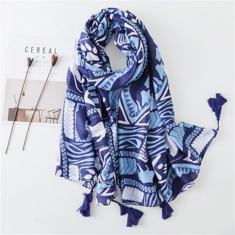 New cotton linen scarf cute blue leopard tulle beach towel NHGD188341's discount tags