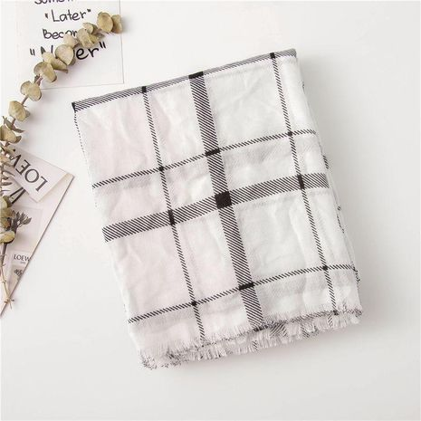 Cotton linen black and white dotted plaid scarf ladies fashion shawl fringed wild scarf NHGD188345's discount tags