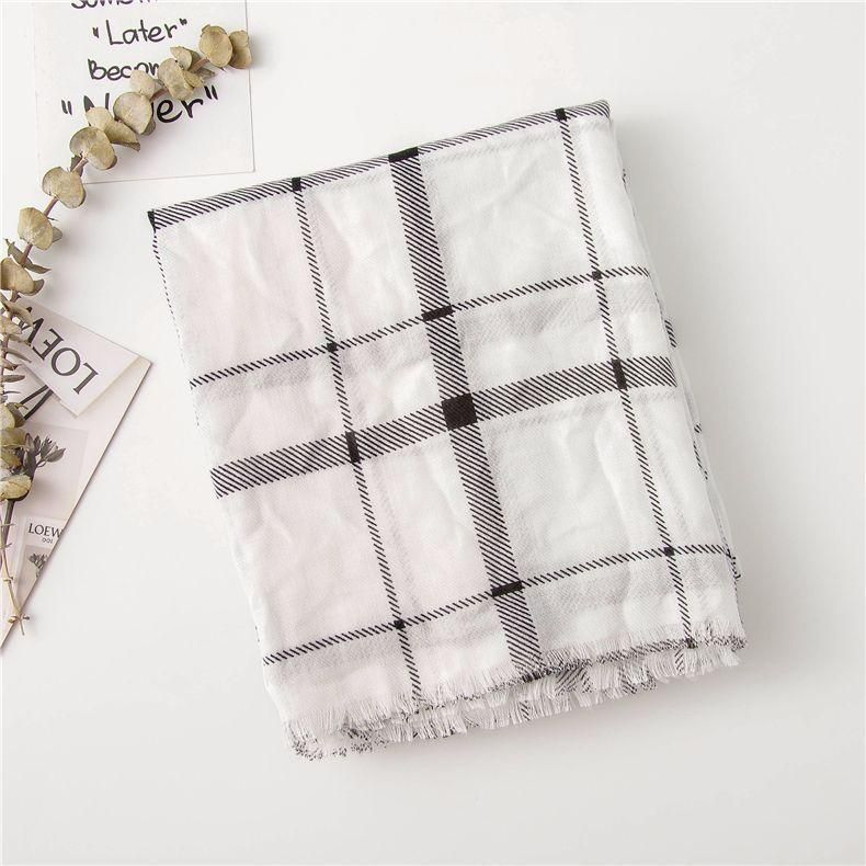 Cotton linen black and white dotted plaid scarf ladies fashion shawl fringed wild scarf NHGD188345