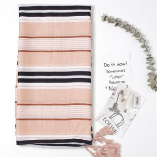 Autumn new striped fringed cotton and linen scarf NHGD188346's discount tags