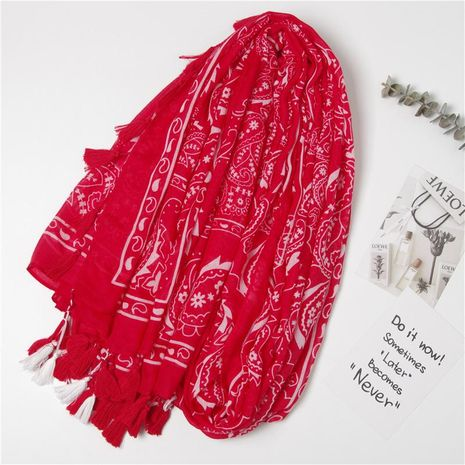 Spring and Autumn New Big Red National Style Long Tassel Scarf Thin Cotton Red NHGD188347's discount tags