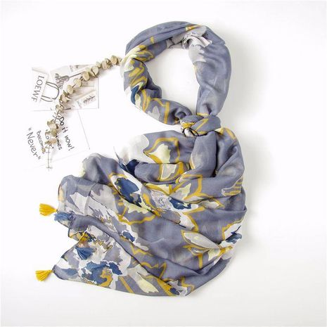 Cotton and linen scarf women autumn and winter Korean version of the navy blue graffiti flower long paragraph increased shawl NHGD188350's discount tags