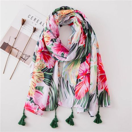 Summer new blue pink flower cotton and linen shawl scarf women NHGD188353's discount tags
