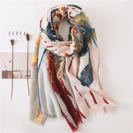Women's floral pattern sunscreen large shawl beach towel women NHGD188354's discount tags