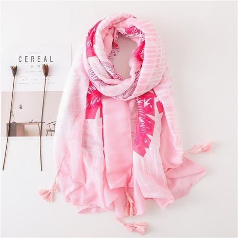 New scarf female wild air conditioning sun shawl pink flower scarf cotton linen scarf NHGD188356's discount tags