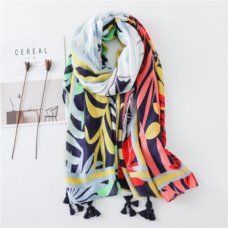 New floral age-reducing cotton and linen scarf shawl NHGD188366's discount tags