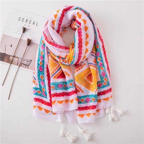 Cotton linen scarf geometric tassel air conditioning shawl travel shade silk beach towel NHGD188368's discount tags