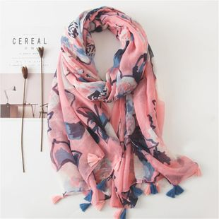 Scarf women's pink and blue printing tassel tulle sunscreen shawl long cotton and linen scarf women NHGD188370's discount tags