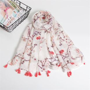 Cotton and linen fringed scarf NHGD188373's discount tags