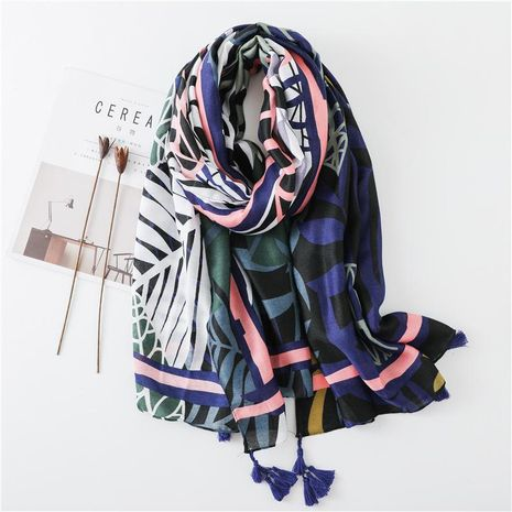 Pink leaves painted cotton and linen scarf dual-use sun shawl vacation travel scarf NHGD188374's discount tags