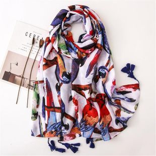 Colorful parrot cotton and linen handkerchief beach towel sun shawl scarf NHGD188378's discount tags