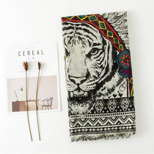 Feather tiger head scarf bib large shawl long split cotton and linen scarf NHGD188383's discount tags