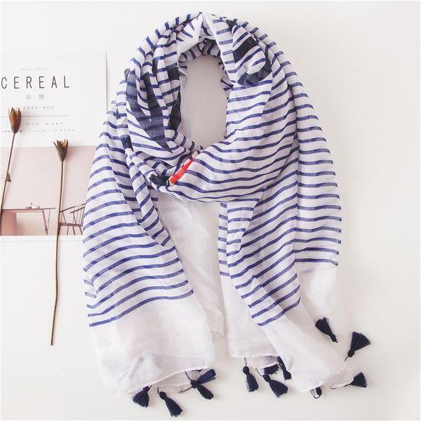 Nuevo pañuelo de seda a rayas azul marino algodón lino bufanda chal sol NHGD188387