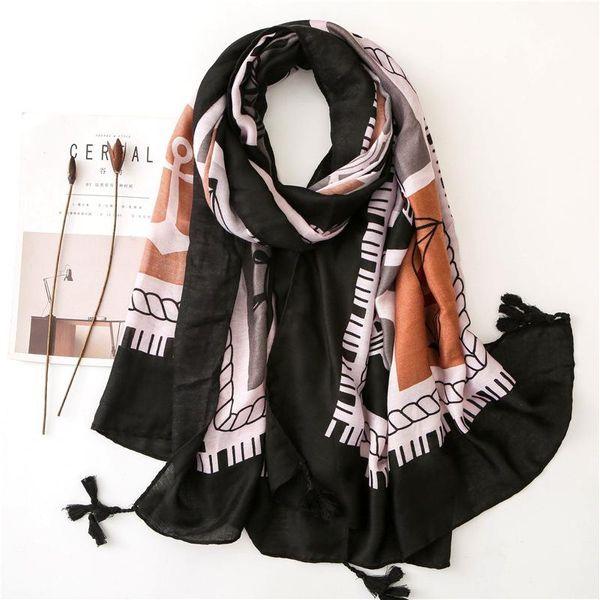 Anchor cotton and linen scarf women beach vacation leisure travel beach towel women big shawl NHGD188404