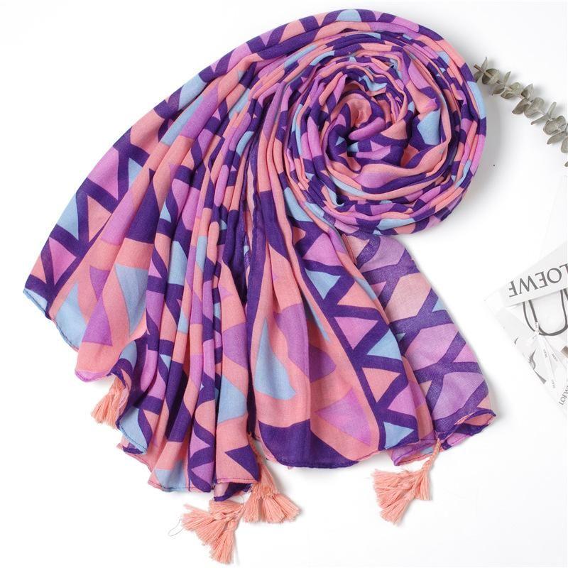 Summer new rhombus geometric cotton and linen print scarf fashion wild scarf NHGD188407
