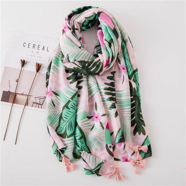 Bufanda de algodón y lino con estampado de loro y bufanda con flecos NHGD188415
