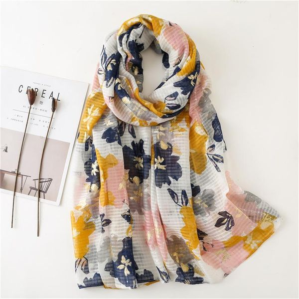 Spring and autumn color flower sequins hot silver cotton and linen oversized scarf NHGD188428